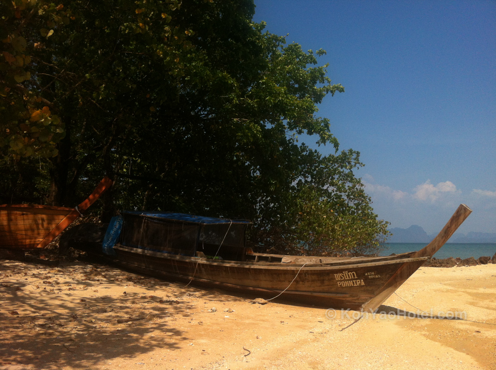 Longtail on the beach, Tha Khao Bay Beach, Koh Yao Noi