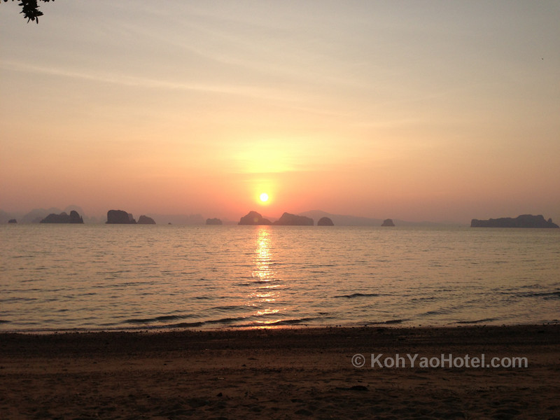 watching the sun rise from  klong jark beach koh yao noi