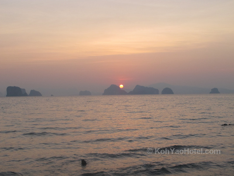 watching the sun rise from  klong jark beach koh yao noi