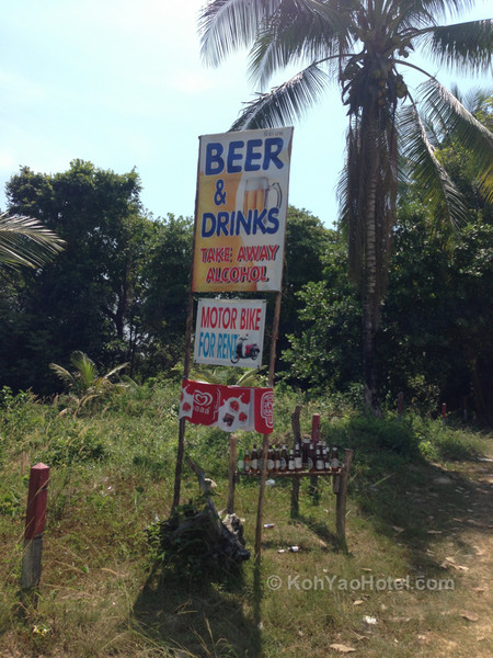 sign for beer at drinks at tikgo bar