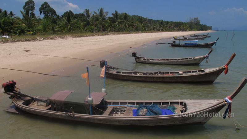 view of the beach taken from the pier next to baan taranya resort koh yao yai