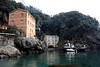 San Fruttuoso. There is no road leading to San Fruttuoso. There is a small helicopter landing place on the hill on right. They had some kind of construction going on.