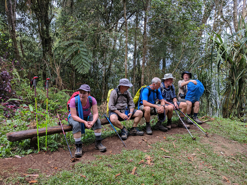 After perhaps the most difficult ascent so far up an almost vertical slope of mud and rocks we take a breather and enjoy the rain.