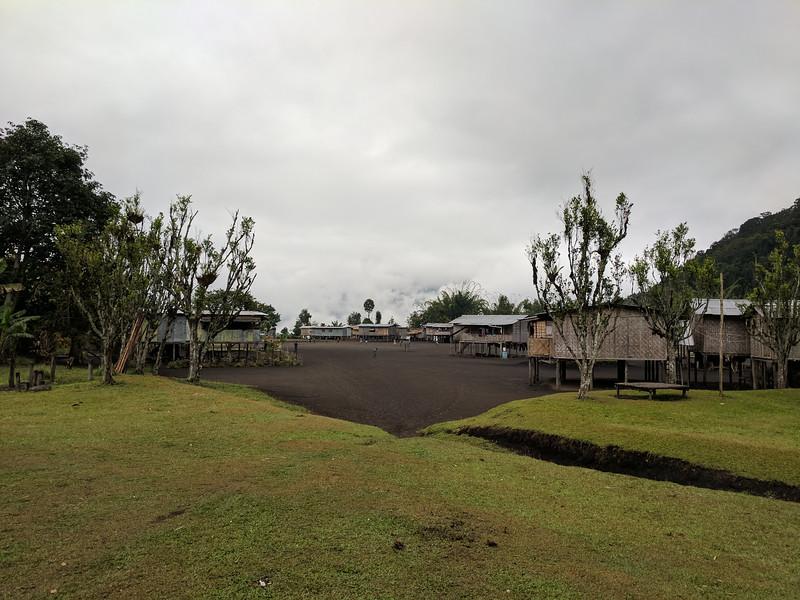 The village centre swept clear of vegitation