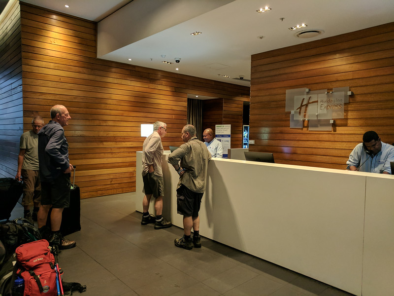 Checking out of The Holiday Inn Express, Port Moresby, at the start of our journey to Kokoda.