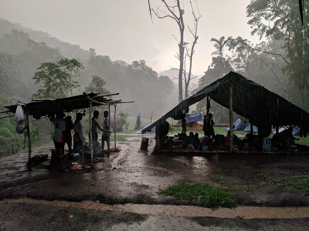 We are OK in our eating shelter and hope that the tarpaulin is rainproof on the porters' shelter
