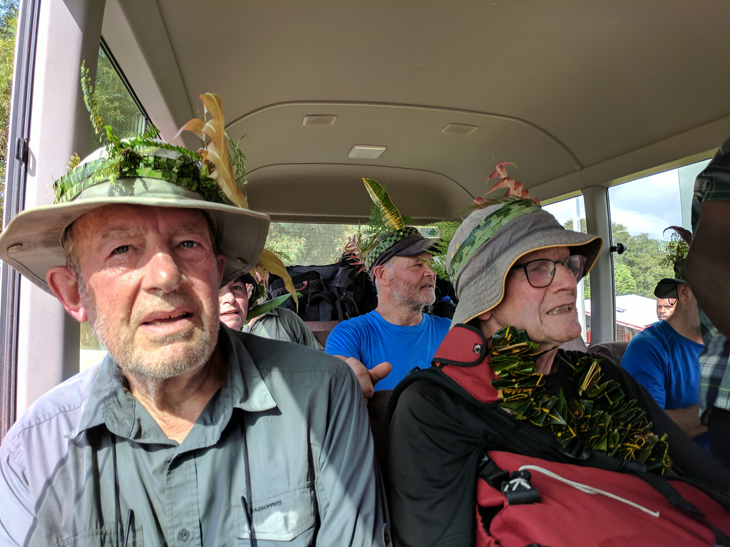 On the way on to Port Moresby.   John and Deb were the only beardless members of the trekkers, the rest look dishevelled sporting various hairy chins