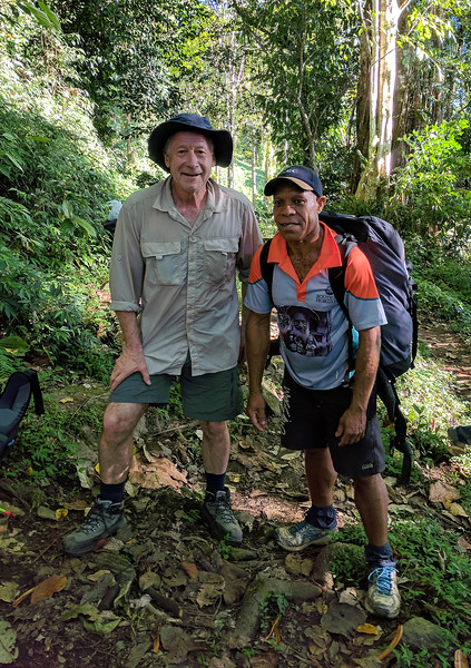 Peter with Gibson, the history expert who accompanied us on the track and doing his share of carrying stores.