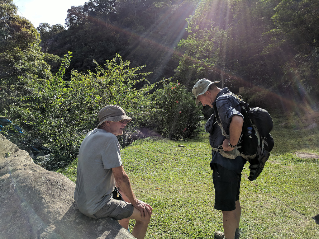 We catch a breather while some go off into the bush to inspect Japanese fox holes.