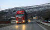 Riksvei 19, trailertransport gjennom Bjerkvik sentrum