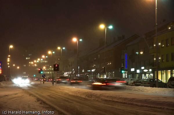 E6, Kongens gate, mørketid i Narvik sentrum