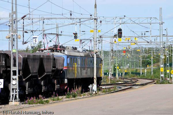 Malmtog på Kiruna jernbanestasjon.