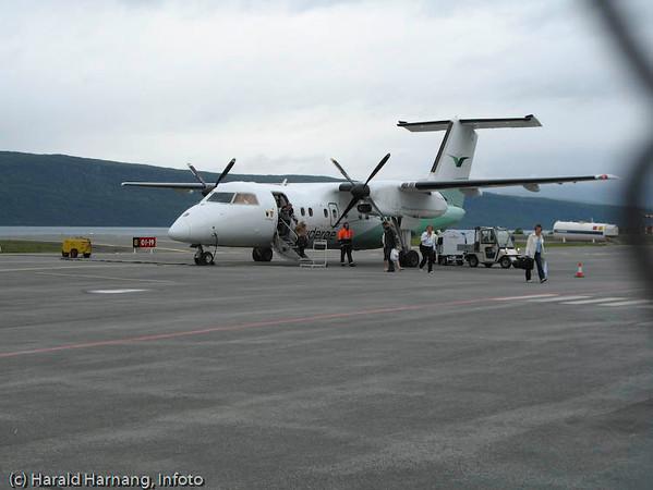 Widerøe, ankomst Narvik Lufthavn, Framneslia
