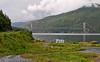 Skjombrua sør for Narvik. I forgrunnen avkjøring og yndet rasteplass for campingbiler/vogner.