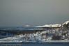 Fergesambandet Bognes - Lødingen. Like før ferga seiler inn under sørspissen på Barøya. Foto fra Efjord.