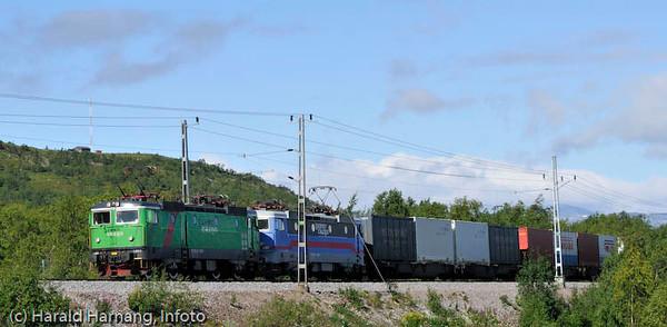 Godstog på Ofotbanen, her fra strekningen mellom Tornetrask og Kiruna.