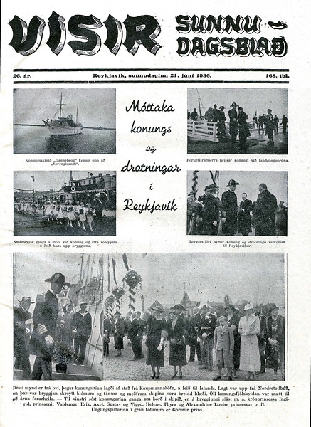 """Umfjöllun í sunnudagsútgáfu Dagblaðsins Vísis þann 21. júní 1936.<br /> ( <a href=""""http://www.timarit.is"""">http://www.timarit.is</a>)"""