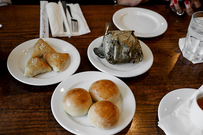 From left to right - Pork Pies, Sticky Rice, Baked Pork Buns