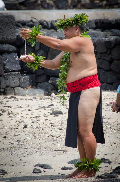 A Hawaiian kamu blesses the Kona Brewers Festival, 2015