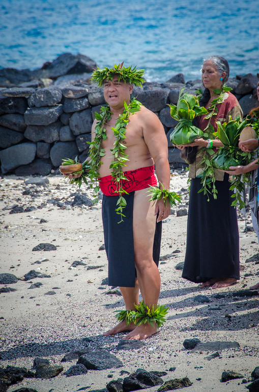 A Hawaiian kamu blesses the Kona Brewers Festival, 2015