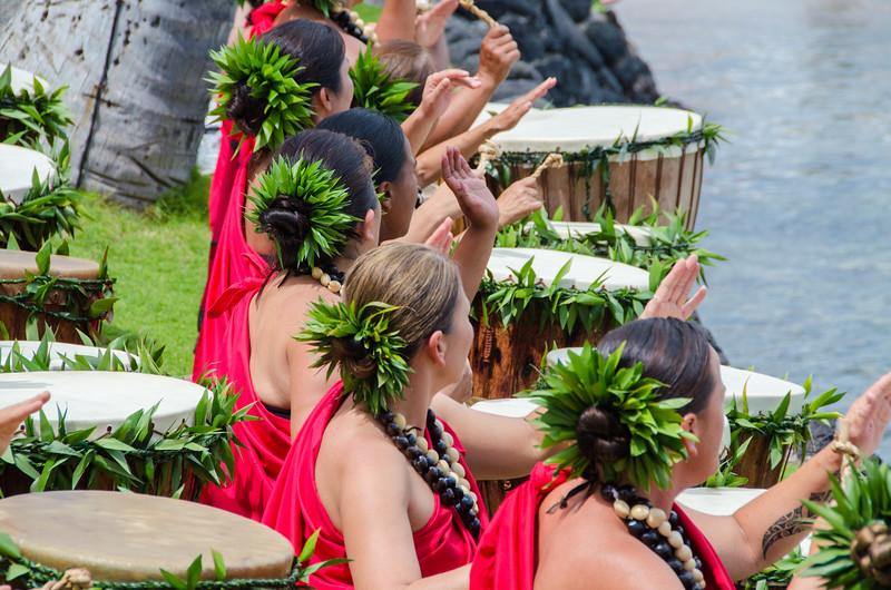 Hawaiian drummers bless the 2015 Kona Brewers Festival.