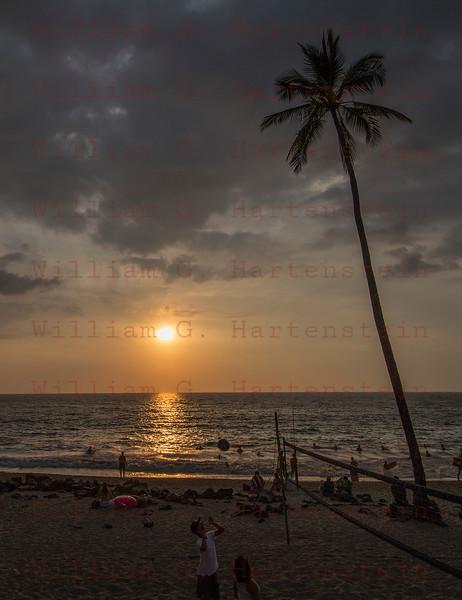 Sunset over Volleyball game White Sands Beach, Kona, HI 11-26-17