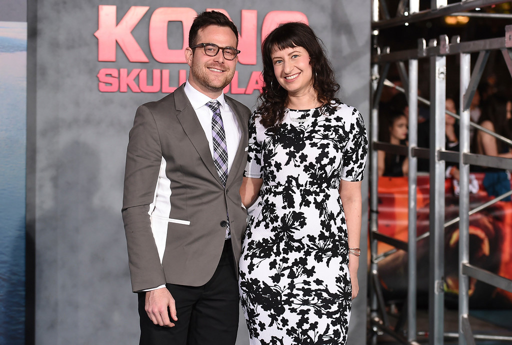 """. Max Borenstein, left, and Sofiya Goldshteyn arrive at the Los Angeles premiere of \""""Kong: Skull Island\"""" at the Dolby Theatre on Wednesday, March 8, 2017. (Photo by Jordan Strauss/Invision/AP)"""