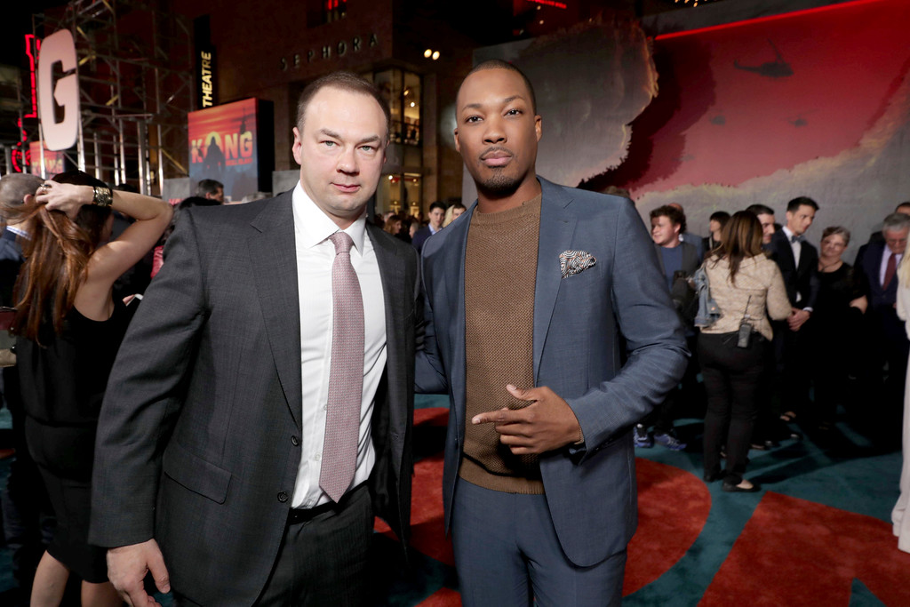 """. Producer Thomas Tull and Corey Hawkins seen at Warner Bros. Pictures and Legendary Pictures Present the Los Angeles Premiere of \""""Kong: Skull Island\"""" at Dolby Theatre on Wednesday, March 8, 2017, in Los Angeles. (Photo by Eric Charbonneau/Invision for Warner Bros./AP Images)"""