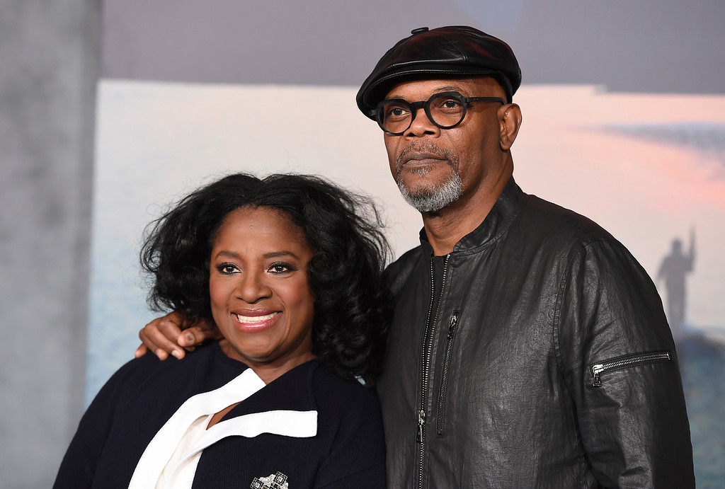 """. Samuel L. Jackson, right, and LaTanya Richardson arrive at the Los Angeles premiere of \""""Kong: Skull Island\"""" at the Dolby Theatre on Wednesday, March 8, 2017. (Photo by Jordan Strauss/Invision/AP)"""