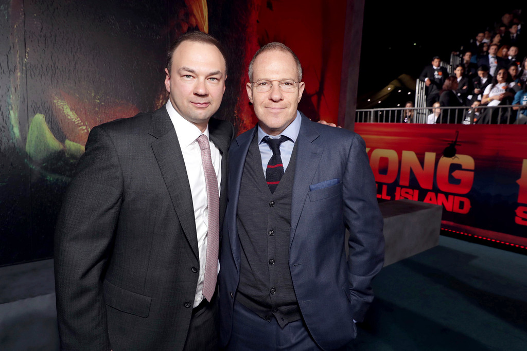 """. Thomas Tull and Toby Emmerich, President and COO of New Line Cinema, seen at Warner Bros. Pictures and Legendary Pictures Present the Los Angeles Premiere of \""""Kong: Skull Island\"""" at Dolby Theatre on Wednesday, March 8, 2017, in Los Angeles. (Photo by Eric Charbonneau/Invision for Warner Bros./AP Images)"""