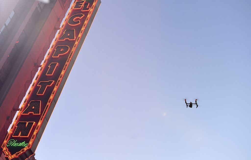 """. A drone flies over the red carpet at the Los Angeles premiere of \""""Kong: Skull Island\"""" at the Dolby Theatre on Wednesday, March 8, 2017. (Photo by Jordan Strauss/Invision/AP)"""