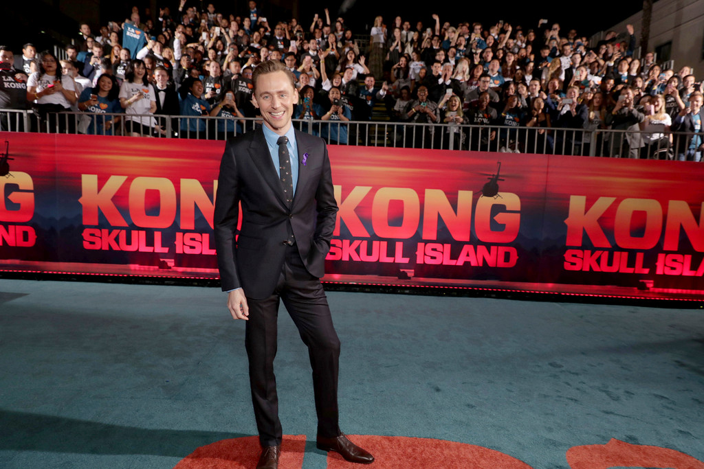 """. Tom Hiddleston seen at Warner Bros. Pictures and Legendary Pictures Present the Los Angeles Premiere of \""""Kong: Skull Island\"""" at Dolby Theatre on Wednesday, March 8, 2017, in Los Angeles. (Photo by Eric Charbonneau/Invision for Warner Bros./AP Images)"""