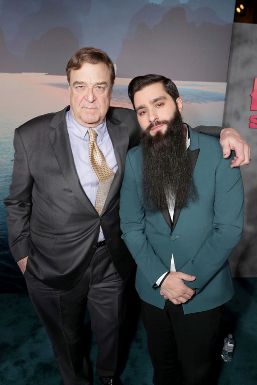 """. John Goodman and Director Jordan Vogt-Roberts seen at Warner Bros. Pictures and Legendary Pictures Present the Los Angeles Premiere of \""""Kong: Skull Island\"""" at Dolby Theatre on Wednesday, March 8, 2017, in Los Angeles. (Photo by Eric Charbonneau/Invision for Warner Bros./AP Images)"""