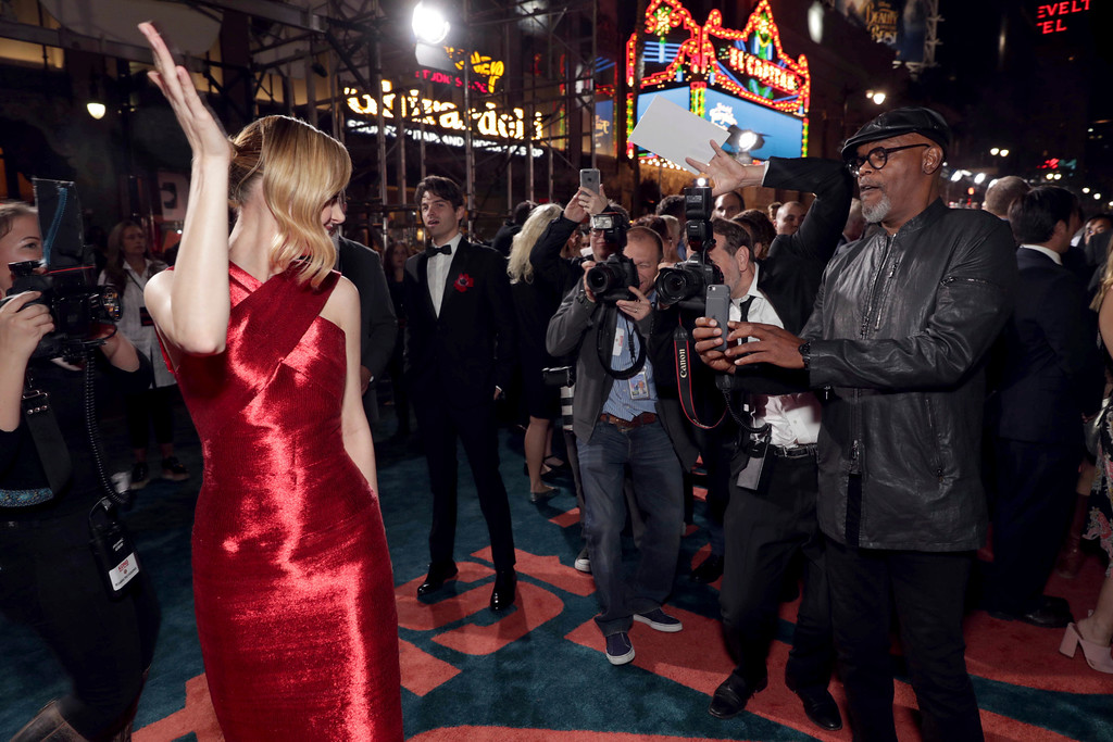 """. Brie Larson and Samuel L. Jackson seen at Warner Bros. Pictures and Legendary Pictures Present the Los Angeles Premiere of \""""Kong: Skull Island\"""" at Dolby Theatre on Wednesday, March 8, 2017, in Los Angeles. (Photo by Eric Charbonneau/Invision for Warner Bros./AP Images)"""