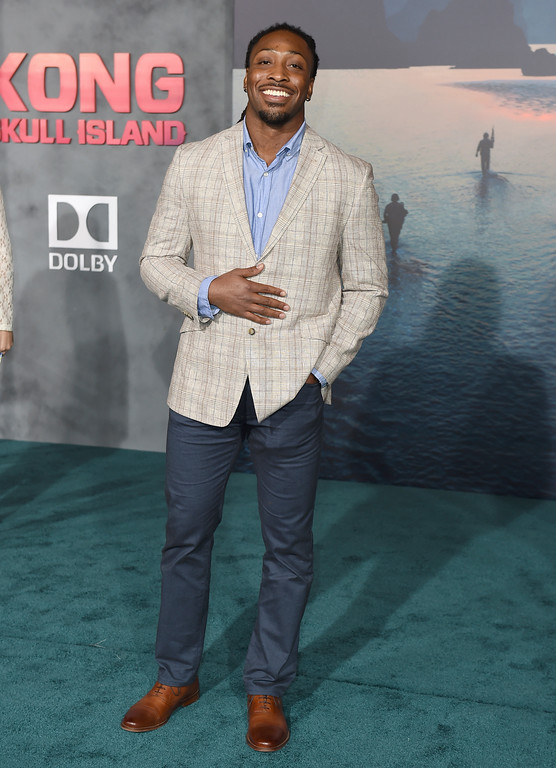 """. NFL player Paul Perkins arrives at the Los Angeles premiere of \""""Kong: Skull Island\"""" at the Dolby Theatre on Wednesday, March 8, 2017. (Photo by Jordan Strauss/Invision/AP)"""