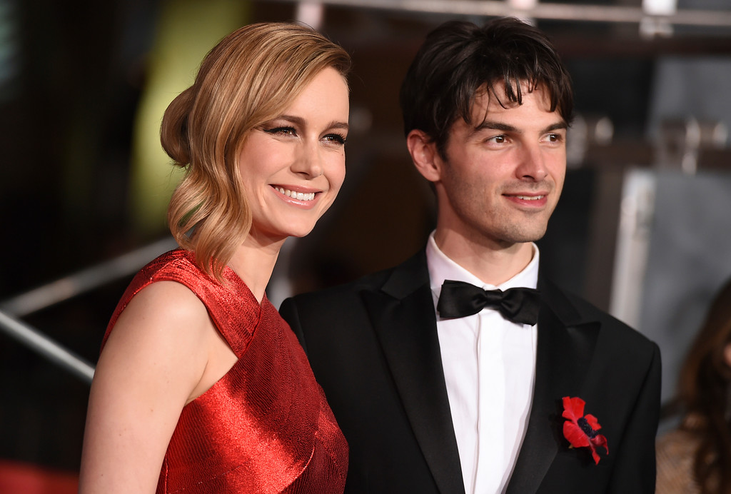""". Brie Larson, left, and Alex Greenwald arrive at the Los Angeles premiere of \""""Kong: Skull Island\"""" at the Dolby Theatre on Wednesday, March 8, 2017. (Photo by Jordan Strauss/Invision/AP)"""
