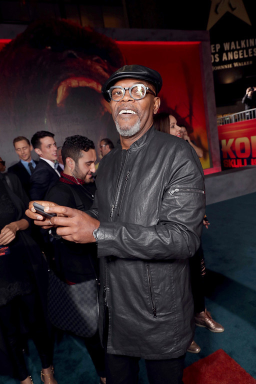 """. Samuel L. Jackson seen at Warner Bros. Pictures and Legendary Pictures Present the Los Angeles Premiere of \""""Kong: Skull Island\"""" at Dolby Theatre on Wednesday, March 8, 2017, in Los Angeles. (Photo by Eric Charbonneau/Invision for Warner Bros./AP Images)"""