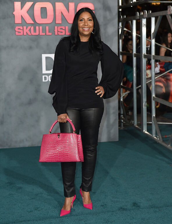 """. Cookie Johnson arrives at the Los Angeles premiere of \""""Kong: Skull Island\"""" at the Dolby Theatre on Wednesday, March 8, 2017. (Photo by Jordan Strauss/Invision/AP)"""