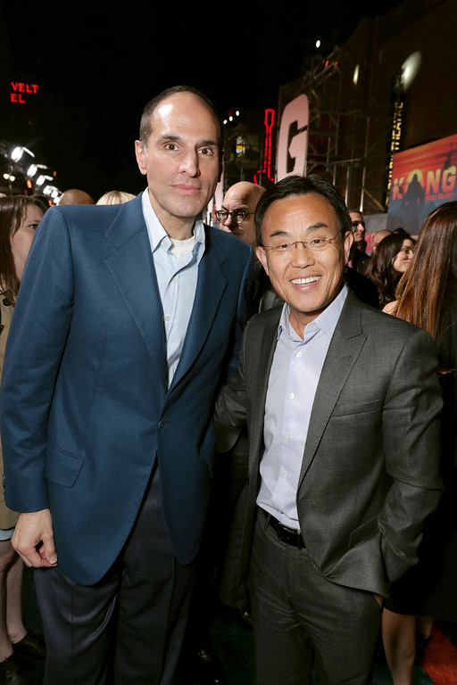 """. Producer Jon Jashni and Jack Gao, CEO of Legendary Pictures, seen at Warner Bros. Pictures and Legendary Pictures Present the Los Angeles Premiere of \""""Kong: Skull Island\"""" at Dolby Theatre on Wednesday, March 8, 2017, in Los Angeles. (Photo by Eric Charbonneau/Invision for Warner Bros./AP Images)"""