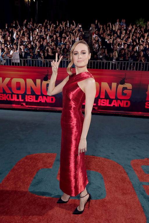 """. Brie Larson seen at Warner Bros. Pictures and Legendary Pictures Present the Los Angeles Premiere of \""""Kong: Skull Island\"""" at Dolby Theatre on Wednesday, March 8, 2017, in Los Angeles. (Photo by Eric Charbonneau/Invision for Warner Bros./AP Images)"""