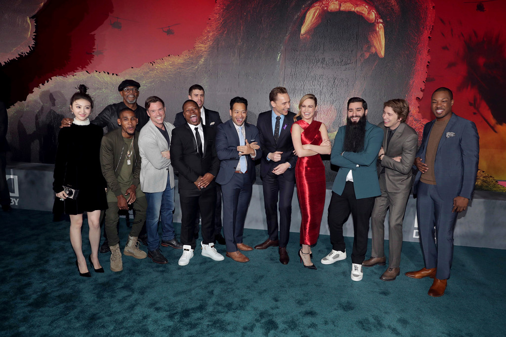 """. Cast of \""""Kong: Skull Island\"""" seen at Warner Bros. Pictures and Legendary Pictures Present the Los Angeles Premiere of \""""Kong: Skull Island\"""" at Dolby Theatre on Wednesday, March 8, 2017, in Los Angeles. (Photo by Eric Charbonneau/Invision for Warner Bros./AP Images)"""