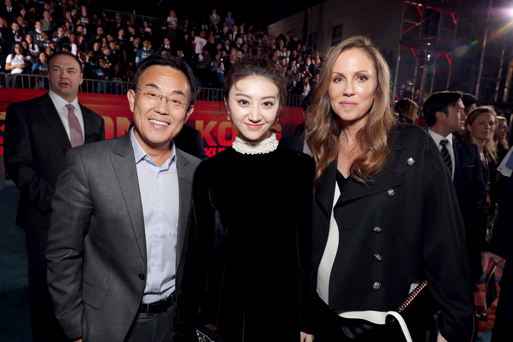 """. Jack Gao, CEO of Legendary Pictures, Tian Jing and Producer Mary Parent seen at Warner Bros. Pictures and Legendary Pictures Present the Los Angeles Premiere of \""""Kong: Skull Island\"""" at Dolby Theatre on Wednesday, March 8, 2017, in Los Angeles. (Photo by Eric Charbonneau/Invision for Warner Bros./AP Images)"""