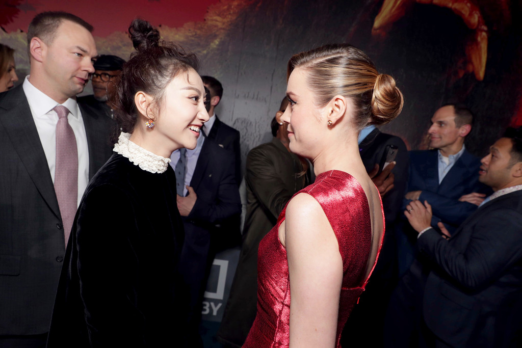 """. Tian Jing and Brie Larson seen at Warner Bros. Pictures and Legendary Pictures Present the Los Angeles Premiere of \""""Kong: Skull Island\"""" at Dolby Theatre on Wednesday, March 8, 2017, in Los Angeles. (Photo by Eric Charbonneau/Invision for Warner Bros./AP Images)"""