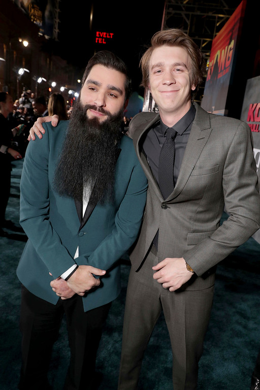 """. Director Jordan Vogt-Roberts and Thomas Mann seen at Warner Bros. Pictures and Legendary Pictures Present the Los Angeles Premiere of \""""Kong: Skull Island\"""" at Dolby Theatre on Wednesday, March 8, 2017, in Los Angeles. (Photo by Eric Charbonneau/Invision for Warner Bros./AP Images)"""