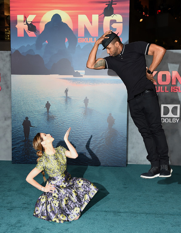 """. Allison Holker, left, and Stephen Boss arrive at the Los Angeles premiere of \""""Kong: Skull Island\"""" at the Dolby Theatre on Wednesday, March 8, 2017. (Photo by Jordan Strauss/Invision/AP)"""