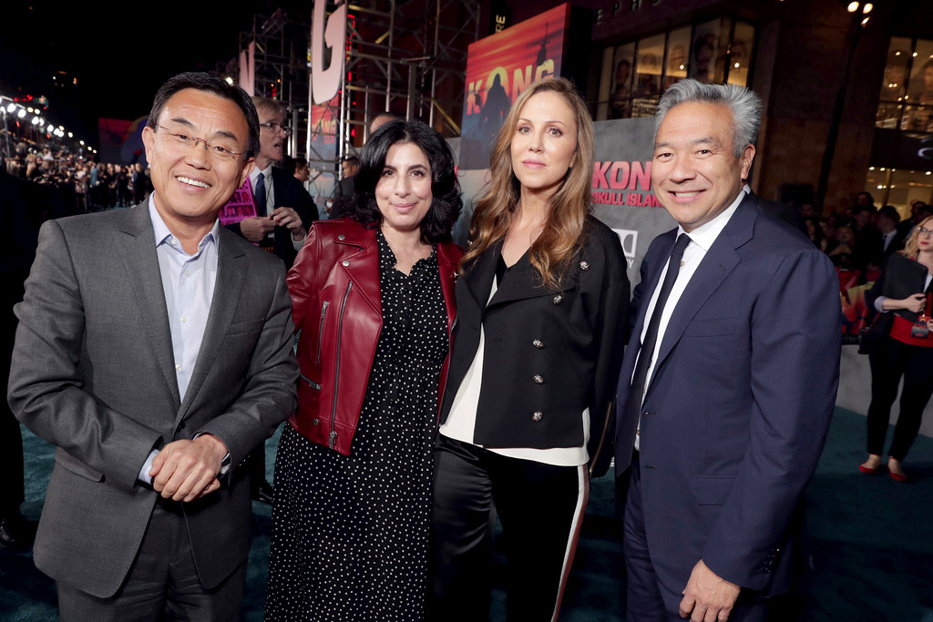 """. Jack Gao, CEO of Legendary Pictures, Sue Kroll, President, Worldwide Marketing and Distribution, Warner Bros. Pictures, Producer Mary Parent and Kevin Tsujihara, Chairman and CEO of Warner Bros., seen at Warner Bros. Pictures and Legendary Pictures Present the Los Angeles Premiere of \""""Kong: Skull Island\"""" at Dolby Theatre on Wednesday, March 8, 2017, in Los Angeles. (Photo by Eric Charbonneau/Invision for Warner Bros./AP Images)"""