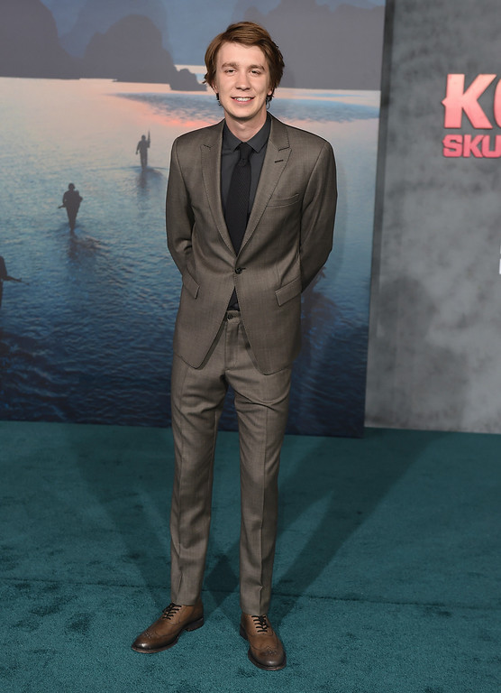 """. Thomas Mann arrives at the Los Angeles premiere of \""""Kong: Skull Island\"""" at the Dolby Theatre on Wednesday, March 8, 2017. (Photo by Jordan Strauss/Invision/AP)"""