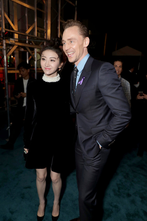 """. Tian Jing and Tom Hiddleston seen at Warner Bros. Pictures and Legendary Pictures Present the Los Angeles Premiere of \""""Kong: Skull Island\"""" at Dolby Theatre on Wednesday, March 8, 2017, in Los Angeles. (Photo by Eric Charbonneau/Invision for Warner Bros./AP Images)"""