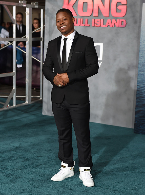 """. Jason Mitchell arrives at the Los Angeles premiere of \""""Kong: Skull Island\"""" at the Dolby Theatre on Wednesday, March 8, 2017. (Photo by Jordan Strauss/Invision/AP)"""