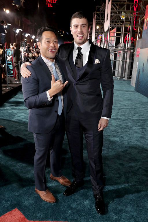 """. Eugene Cordero and Toby Kebbell seen at Warner Bros. Pictures and Legendary Pictures Present the Los Angeles Premiere of \""""Kong: Skull Island\"""" at Dolby Theatre on Wednesday, March 8, 2017, in Los Angeles. (Photo by Eric Charbonneau/Invision for Warner Bros./AP Images)"""